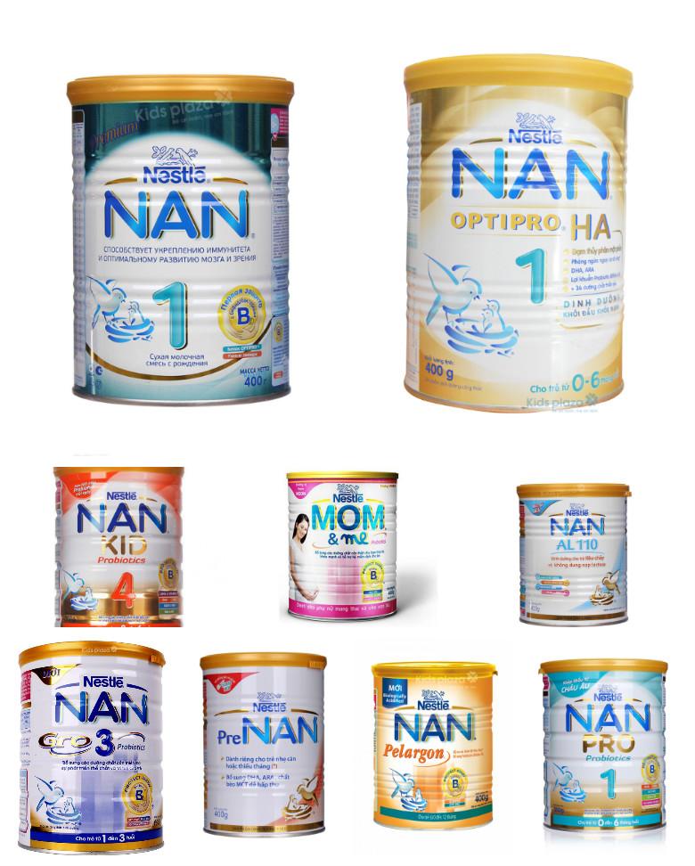 Các loại sữa Nan Nestle