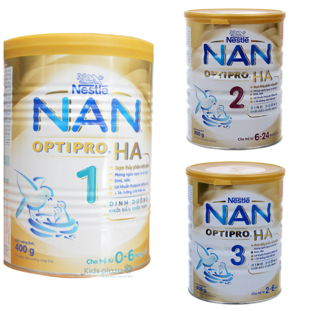Các loại sữa Nan HA số 1, 2,3