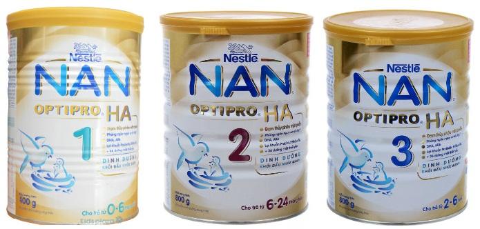 Các loại sữa Nan HA OPTIPRO 1, 2, 3
