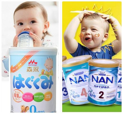 So sánh sữa Nan và sữa Morinaga Nhật