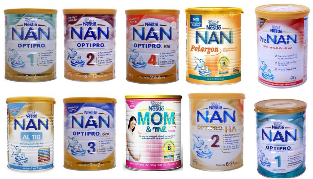 Sữa Nan có bao nhiêu loại tất cả?