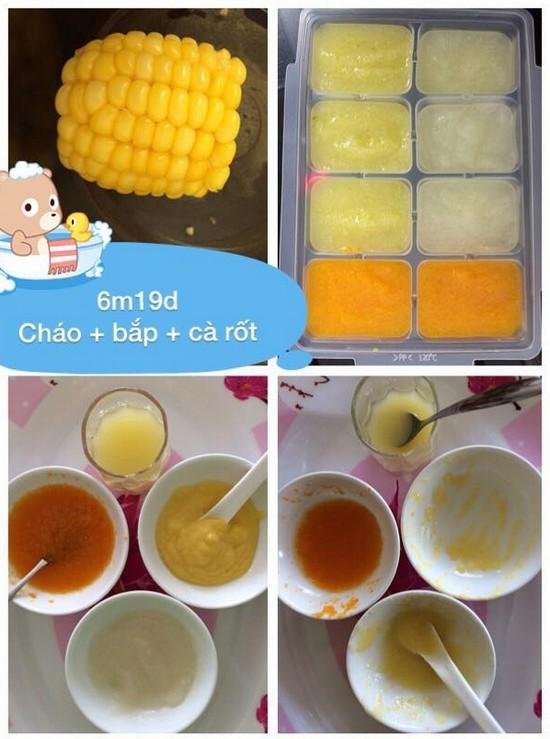 Chia sẻ thực đơn ăn dặm lý tưởng cho bé 6 tháng tuổi cháo trắng bắp hấp cà rốt