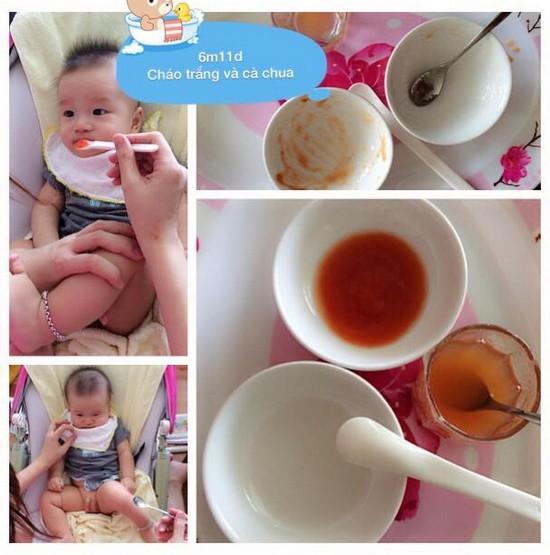 Chia sẻ thực đơn ăn dặm lý tưởng cho bé 6 tháng tuổi cháo trắng và cà chua