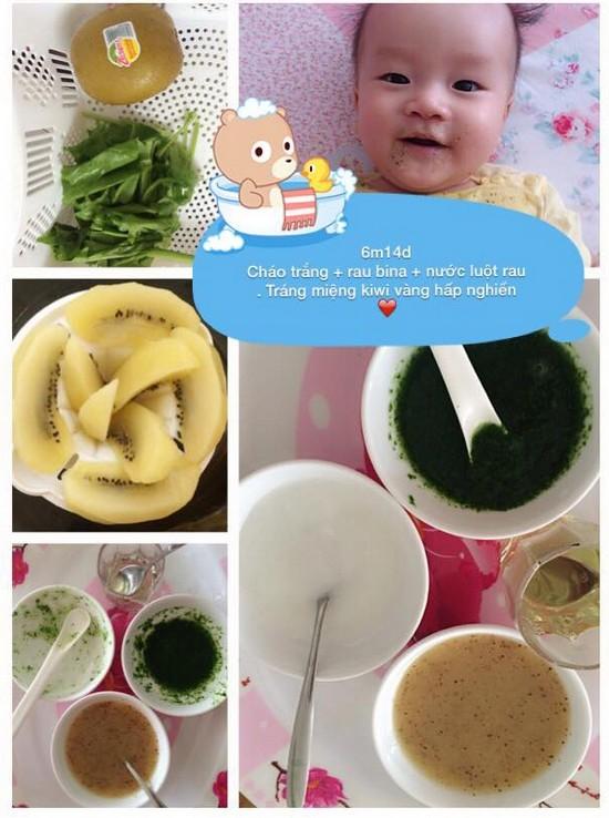 Chia sẻ thực đơn ăn dặm lý tưởng cho bé 6 tháng tuổi cháo trắng rau bina kiwi hấp