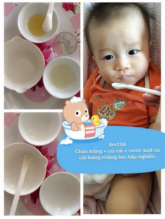 Chia sẻ thực đơn ăn dặm lý tưởng cho bé 6 tháng tuổi cháo trắng củ cài luộc táo hấp
