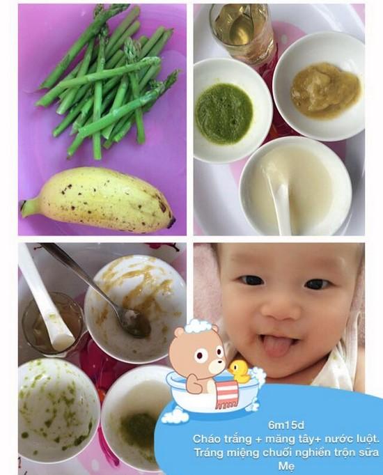Chia sẻ thực đơn ăn dặm lý tưởng cho bé 6 tháng tuổi cháo trắng măng tây chuối nghiền