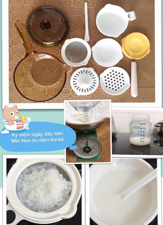 chia sẻ thực đơn ăn dặm lý tưởng cho bé 6 tháng tuổi cháo trộn sữa mẹ