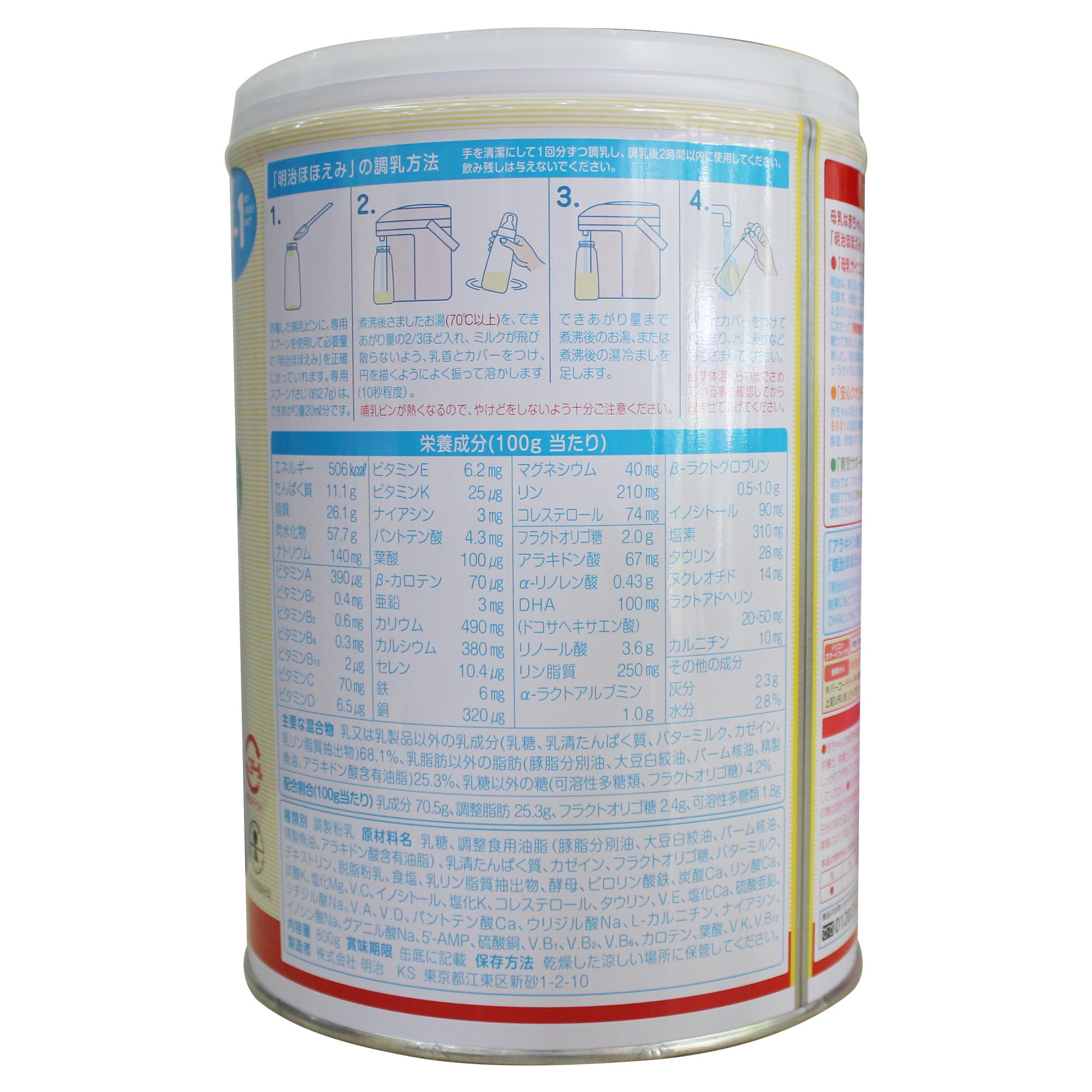 Bảng thành phần sữa Meiji số 0 nội địa Nhật - Meiji Hohoemi