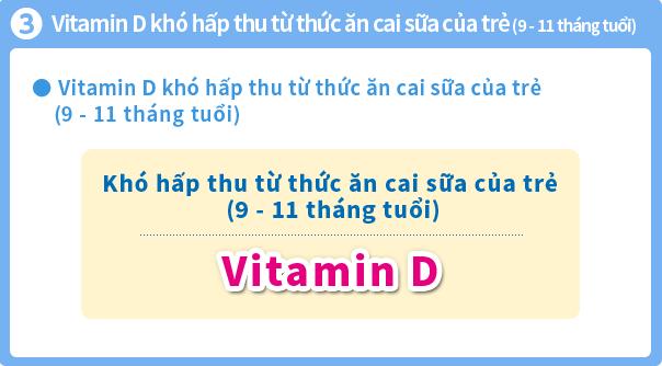 Sữa Glico số 9 - Bổ sung Vitamin D – chất khó hấp thu từ thức ăn cai sữa của trẻ (9-11 tháng tuổi)
