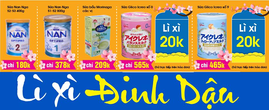 Khuyến mại sữa Nan, Morinaga, Glico hấp dẫn nhất tháng 02/2017