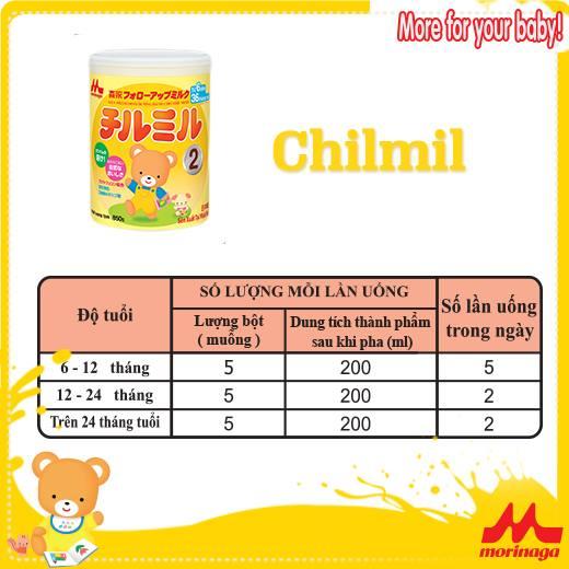 Công thức pha sữa Chilmil (Morinaga số 2)