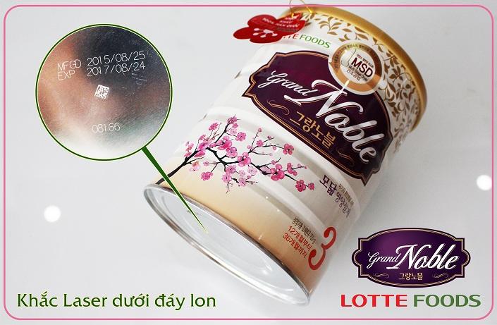 Sữa Grand Noble Hàn Quốc có hạn sử dụng được khắc laze trực tiếp lên đáy lon đảm bảo 100% hàng chính hãng