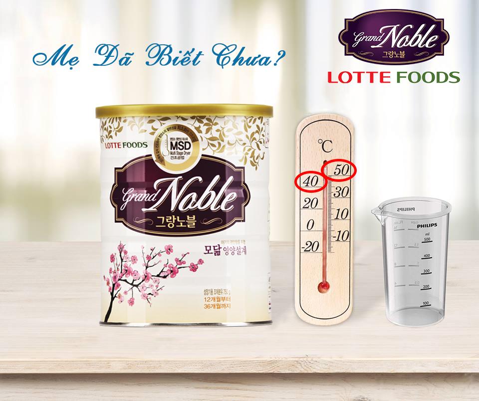 Pha sữa Grand Noble với nước ở nhiệt độ bao nhiêu là tốt nhất?