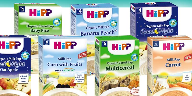 Bột ăn dặm HiPP không chứa sữa cho bé dị ứng với bột ăn dặm