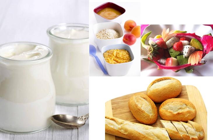 sữa chua ăn cùng bánh mỳ, trái cây,...