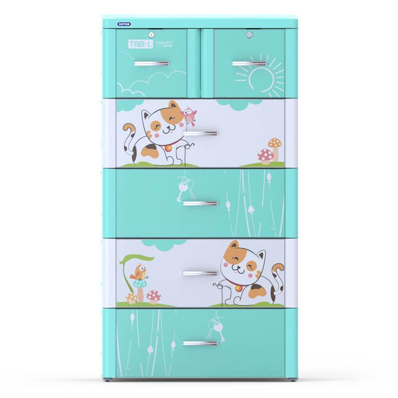 Tủ nhựa Tabi-L Duy Tân 5 tầng 6 ngăn (màu xanh)