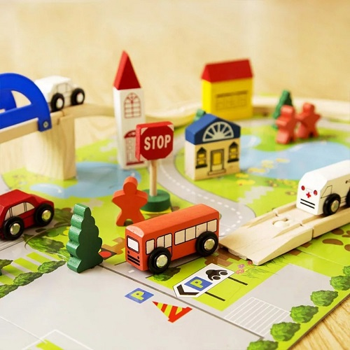 Bộ mô hình ghép thành phố bằng gỗ
