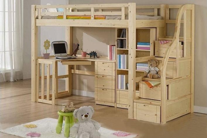 giường tầng bằng gỗ thông