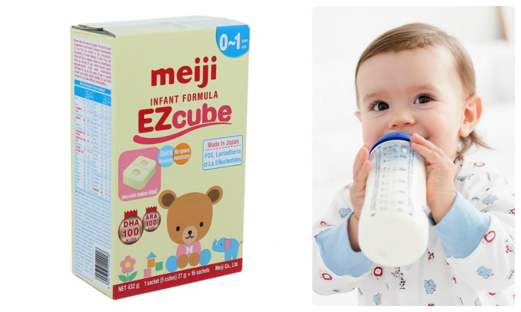 Hướng dẫn chi tiết nhất cách pha sữa Meiji thanh số 0 Infant Formula Ezcube