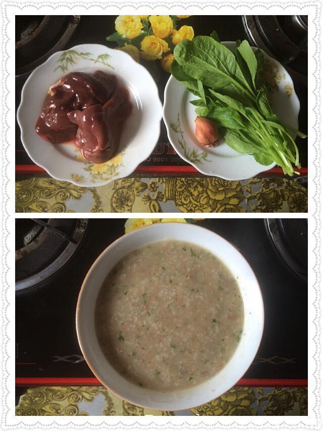 Cháo gan gà và rau cải ngọt