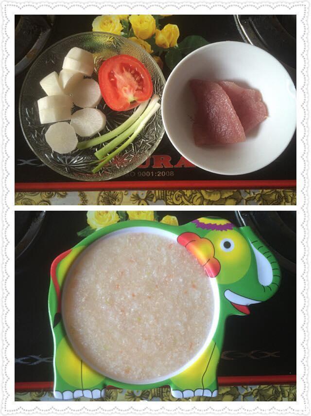 Cháo thịt heo - củ cải - cà chua