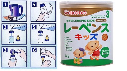 Cách pha sữa Wakodo Lebens Kids 850g đảm bảo chất dinh dưỡng cho bé