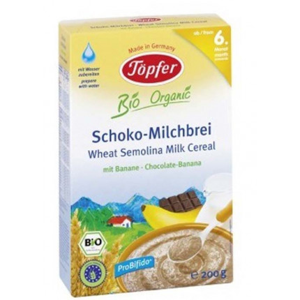 Bột ăn dặm Topfer Organic ngũ cốc mầm hạt lúa mỳ và sữa Socola - chuối (200gr)