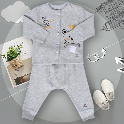 Quần áo sơ sinh Mamago in hình gấu và thỏ (Ghi)
