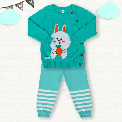 Quần áo sơ sinh thêu thỏ ăn cà rốt Mamago (Xanh Lơ)