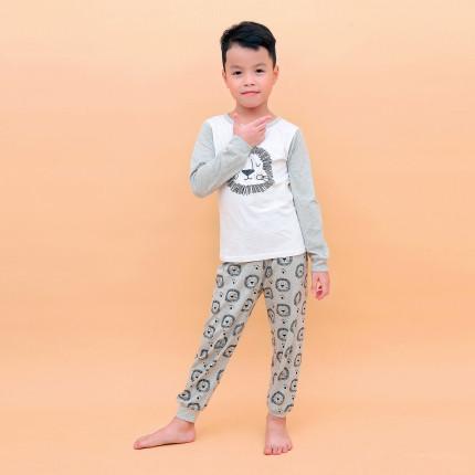 Bộ quần áo tay dài bé trai in hình chú sư tử Kiza (Ghi)
