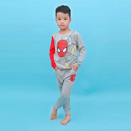 Bộ tay dài bé trai in hình người nhện Kiza (Ghi)