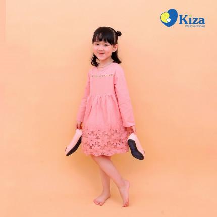 Váy bé gái thêu hoa hồng Kiza màu hồng