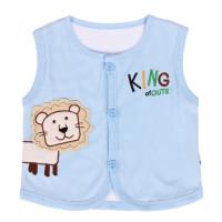 Áo gile cotton 2 lớp Kiza thêu chú sư tử màu xanh