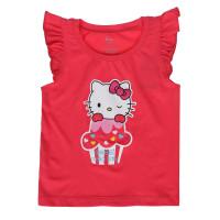 Áo tay bèo bé gái in hinh Kitty Kiza Hồng