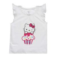 Áo tay bèo bé gái in hinh Kitty Kiza Trắng