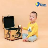 Áo tay dài bé trai in chữ DIYS-TIUK Kiza (Vàng)