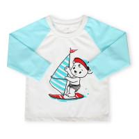 Áo tay dài bé trai in chú gấu lướt ván Mamago (xanh)