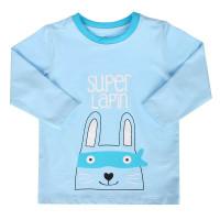 Áo tay dài bé trai in chữ Super Lapin Mamago (xanh)