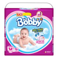 Bỉm - Tã dán Bobby size M - 76 miếng (cho bé 6 - 10kg)