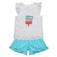 Bộ ba lỗ bé gái in Yum quần chấm bi Kiza (trắng xanh)