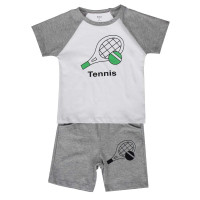Bộ quần áo cộc bé trai in hình tenis Kiza (Trắng ghi)