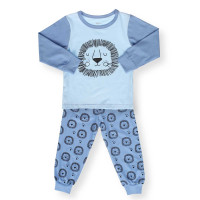 Bộ quần áo tay dài bé trai in hình chú sư tử Kiza (Xanh)