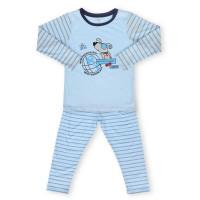 Bộ quần áo tay dài bé trai in hình quả địa cầu Kiza (Xanh)