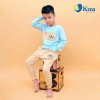 Bộ tay dài bé trai in ba chú gấu nhỏ Kiza (Xanh)