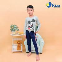 Bộ tay dài bé trai in chuột Mickey Kiza (Ghi)