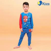 Bộ tay dài bé trai in hình người nhện Kiza (Xanh)
