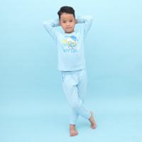 Bột cotton dài bé trai Mamago in hình cún đội mũ (Xanh)