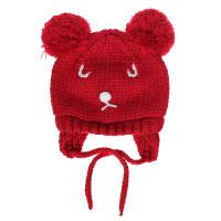 Mũ len buộc dây 2 cục bông in mặt gấu