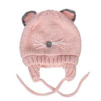 Mũ len buộc dây họa tiết tai mèo
