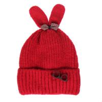 Mũ len họa tiết hai tai thỏ chóp đính nơ